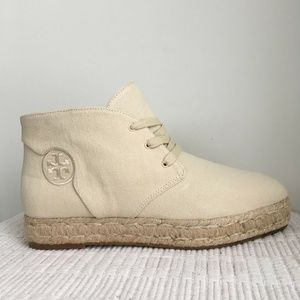 Tory Burch Rios Espadrille Lace up Booties Canvas